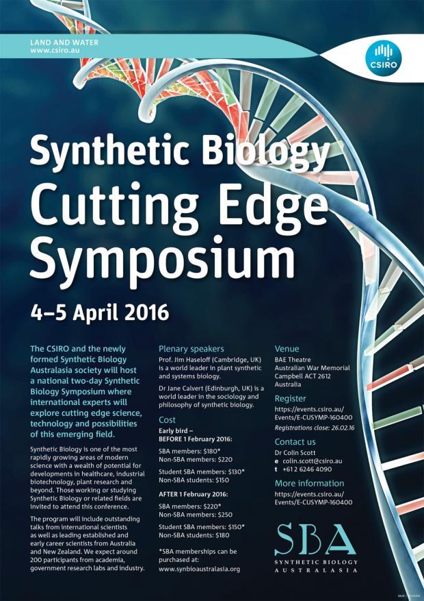 Synthetic Biology Cutting Edge Symposium In Australia Synenergene